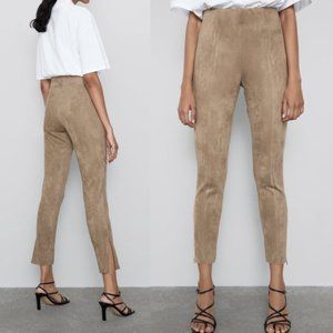 Zara Faux Suede Mid-Rise Legging Tan NWT